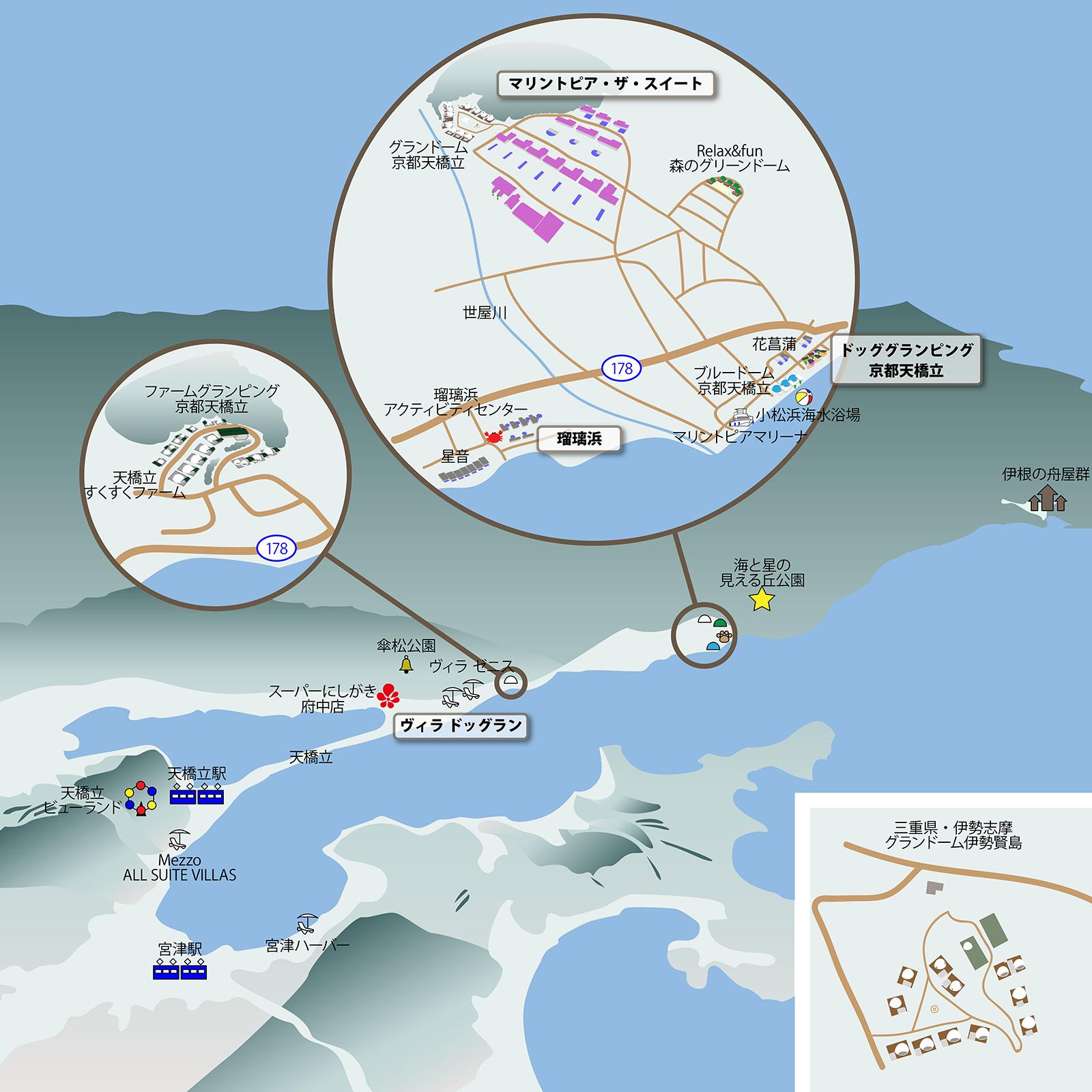 ドッググランピング京都天橋立漫画周辺マップ